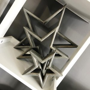 Grey Wood Mantlepiece Stars