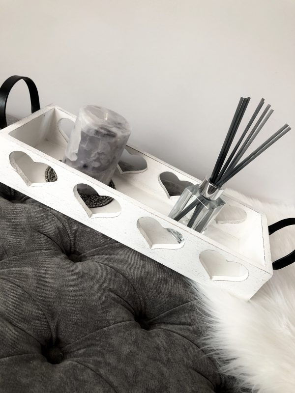 White Wooden Heart Trug