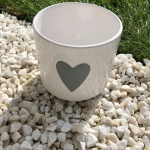 White Heart Planter
