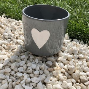 Ceramic Grey Heart Planter
