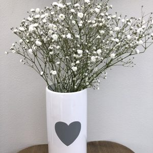 White & Grey Heart Vase