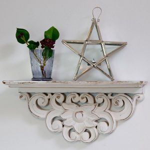 Morrocan Shelf Hand Carved White Wood